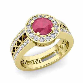 Roman Numeral Engagement Ring in 18k Gold Halo Ruby Ring, 6mm