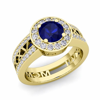 Roman Numeral Engagement Ring in 18k Gold Halo Sapphire Ring, 7mm