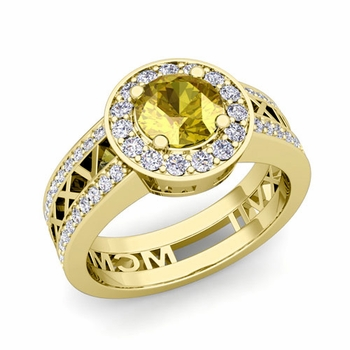 Roman Numeral Engagement Ring in 18k Gold Halo Yellow Sapphire Ring, 7mm