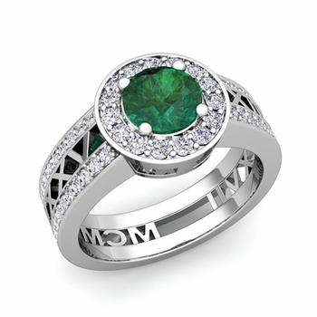 Roman Numeral Engagement Ring in Platinum Halo Emerald Ring, 6mm