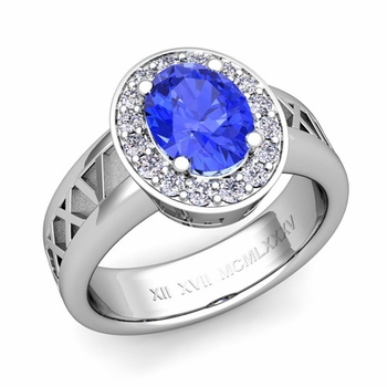 Roman Numeral Halo Ceylon Sapphire Engagement Ring in 14k Gold, 7x5mm