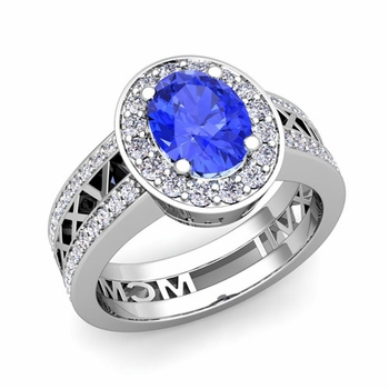 Roman Numeral Halo Ceylon Sapphire Engagement Ring in 14k Gold, 9x7mm
