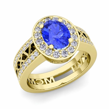 Roman Numeral Halo Ceylon Sapphire Engagement Ring in 18k Gold, 7x5mm