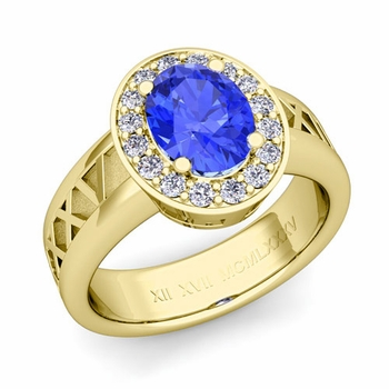 Roman Numeral Halo Ceylon Sapphire Engagement Ring in 18k Gold, 9x7mm