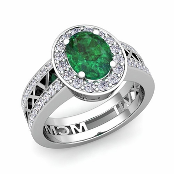 Roman Numeral Halo Emerald Engagement Ring in 14k Gold, 9x7mm