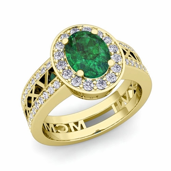 Roman Numeral Halo Emerald Engagement Ring in 18k Gold, 8x6mm