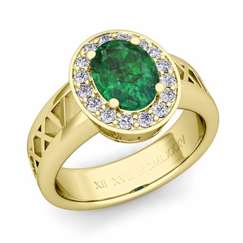 Roman Numeral Halo Emerald Engagement Ring in 18k Gold, 9x7mm