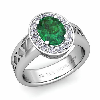 Roman Numeral Halo Emerald Engagement Ring in Platinum, 9x7mm