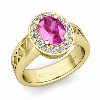 Roman Numeral Halo Pink Sapphire Engagement Ring in 18k Gold, 7x5mm