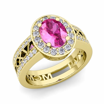 Roman Numeral Halo Pink Sapphire Engagement Ring in 18k Gold, 8x6mm