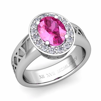 Roman Numeral Halo Pink Sapphire Engagement Ring in Platinum, 7x5mm
