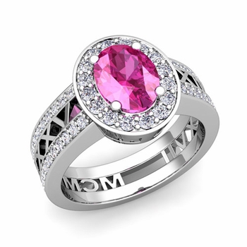 Roman Numeral Halo Pink Sapphire Engagement Ring in Platinum, 8x6mm