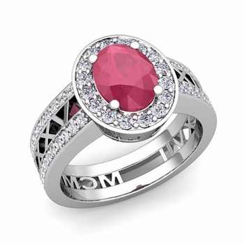 Roman Numeral Halo Ruby Engagement Ring in 14k Gold, 7x5mm