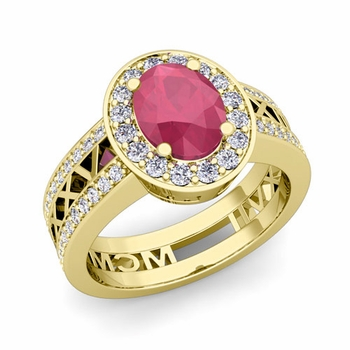 Roman Numeral Halo Ruby Engagement Ring in 18k Gold, 7x5mm