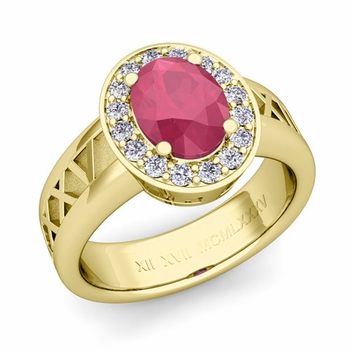 Roman Numeral Halo Ruby Engagement Ring in 18k Gold, 8x6mm