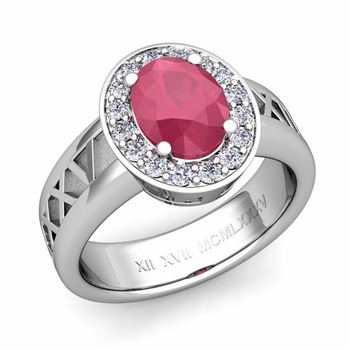 Roman Numeral Halo Ruby Engagement Ring in Platinum, 8x6mm