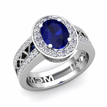 Roman Numeral Halo Sapphire Engagement Ring in 14k Gold, 7x5mm