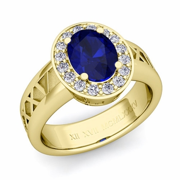 Roman Numeral Halo Sapphire Engagement Ring in 18k Gold, 9x7mm