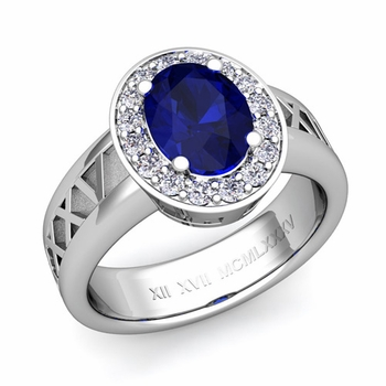 Roman Numeral Halo Sapphire Engagement Ring in Platinum, 9x7mm