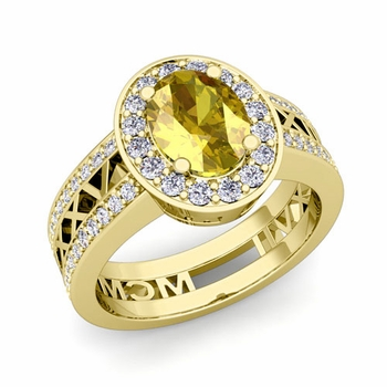 Roman Numeral Halo Yellow Sapphire Engagement Ring in 14k Gold, 7x5mm