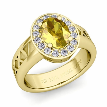 Roman Numeral Halo Yellow Sapphire Engagement Ring in 18k Gold, 9x7mm