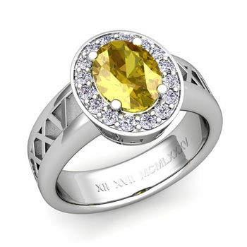 Roman Numeral Halo Yellow Sapphire Engagement Ring in Platinum, 7x5mm