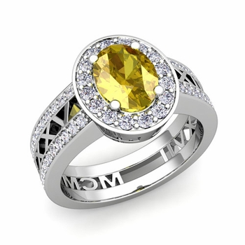Roman Numeral Halo Yellow Sapphire Engagement Ring in Platinum, 9x7mm
