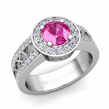 Roman Numeral Pink Sapphire Engagement Ring in 14k Gold Halo Setting, 7mm
