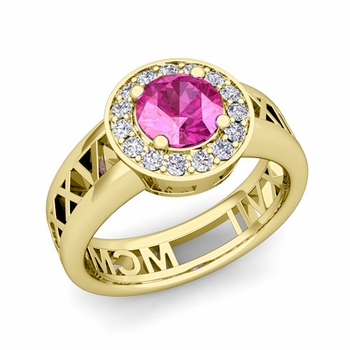 Roman Numeral Pink Sapphire Engagement Ring in 18k Gold Halo Setting, 5mm