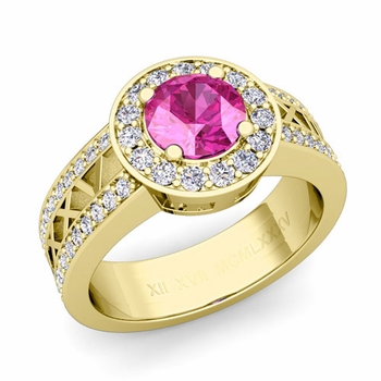 Roman Numeral Pink Sapphire Engagement Ring in 18k Gold Halo Setting, 7mm