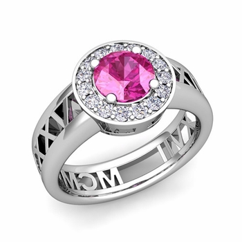 Roman Numeral Pink Sapphire Engagement Ring in Platinum Halo Setting, 7mm