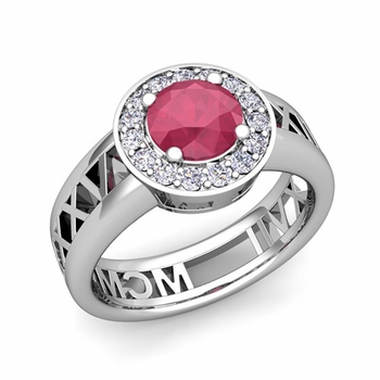 Roman Numeral Ruby Engagement Ring in 14k Gold Halo Setting, 5mm