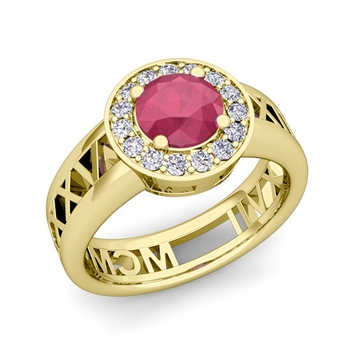 Roman Numeral Ruby Engagement Ring in 18k Gold Halo Setting, 5mm