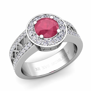 Roman Numeral Ruby Engagement Ring in Platinum Halo Setting, 6mm