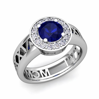Roman Numeral Sapphire Engagement Ring in 14k Gold Halo Setting, 5mm