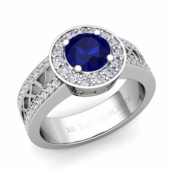 Roman Numeral Sapphire Engagement Ring in 14k Gold Halo Setting, 7mm