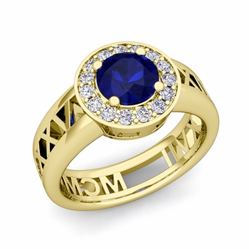 Roman Numeral Sapphire Engagement Ring in 18k Gold Halo Setting, 5mm