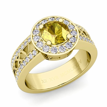 Roman Numeral Yellow Sapphire Engagement Ring in 18k Gold Halo Setting, 6mm