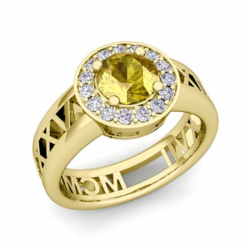 Roman Numeral Yellow Sapphire Engagement Ring in 18k Gold Halo Setting, 7mm