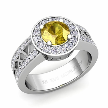 Roman Numeral Yellow Sapphire Engagement Ring in Platinum Halo Setting, 5mm