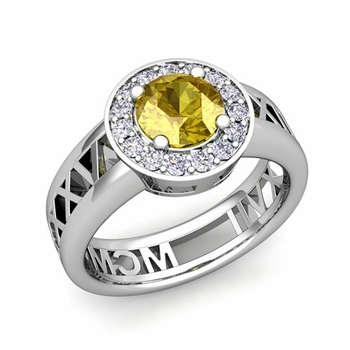 Roman Numeral Yellow Sapphire Engagement Ring in Platinum Halo Setting, 7mm
