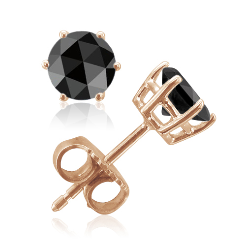 Rose Cut Black Spinel Stud Earrings