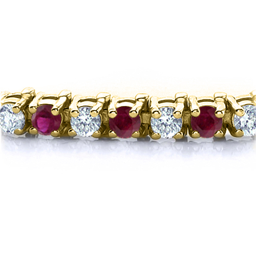 Order Now Ships On Monday 1 7order In 14 Business Days Ruby And Diamond Bracelet 18k Yellow Gold