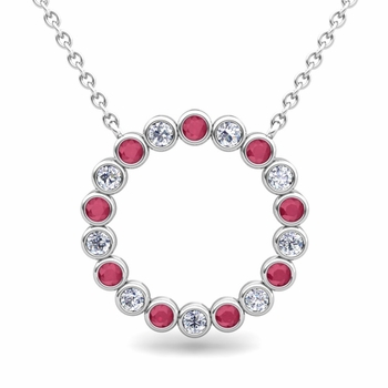 Bezel Set Diamond and Ruby Necklace in 14k Gold Circle Pendant