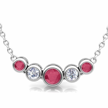 Bezel Set Diamond and Ruby Necklace in 14k Gold Bubble Pendant