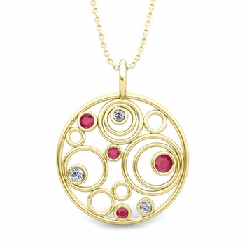Diamond and Ruby Circle Pendant in 18k Gold Drop Necklace