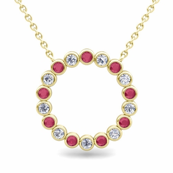 Bezel Set Diamond and Ruby Necklace in 18k Gold Circle Pendant