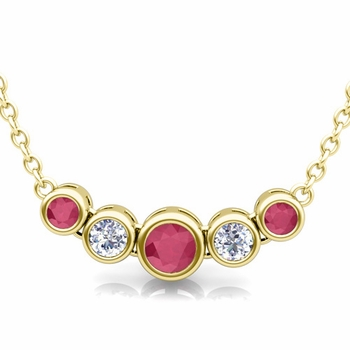 Bezel Set Diamond and Ruby Necklace in 18k Gold Bubble Pendant