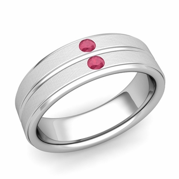Ruby Wedding Anniversary Ring in 14k Gold Brushed Flat Wedding Band, 6.5mm