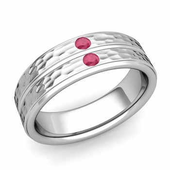 Ruby Wedding Anniversary Ring in 14k Gold Hammered Flat Wedding Band, 6.5mm